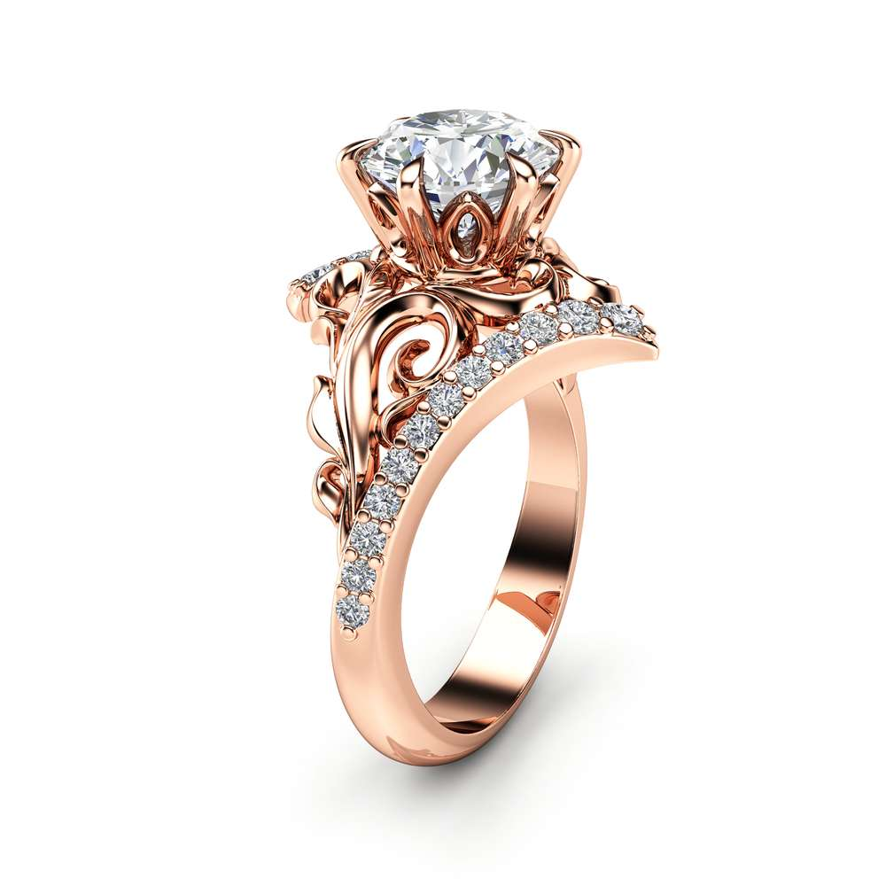 Moissanite Engagement Ring 14K Rose Gold Ring Leaf Engagement Ring Gold Moissanite Ring
