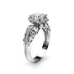 Halo Moissanite Engagement Ring 14K White Gold  Vintage Ring Diamond Alternative Halo Ring