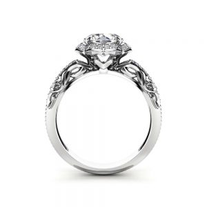Halo Moissanite Engagement Ring 14K White Gold  Vintage Ring Diamond Alternative Halo Ring