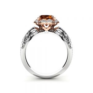 Chocolate Diamond Halo Engagement Ring 14K White and Rose Gold Ring Fancy Brown Natural Diamond Ring