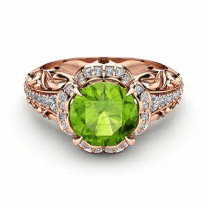 Peridot Halo Engagement Ring 14K Rose Gold Peridot Ring August Birthstone Ring
