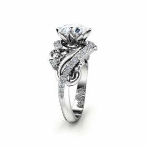 Art Nouveau Moissanite Engagement Ring 14K White Gold Ring Round Cut Moissanite Engagement Ring