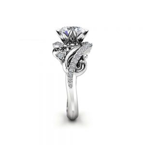 Art Nouveau Moissanite Engagement Ring 14K White Gold Ring Round Cut Moissanite Engagement Ring