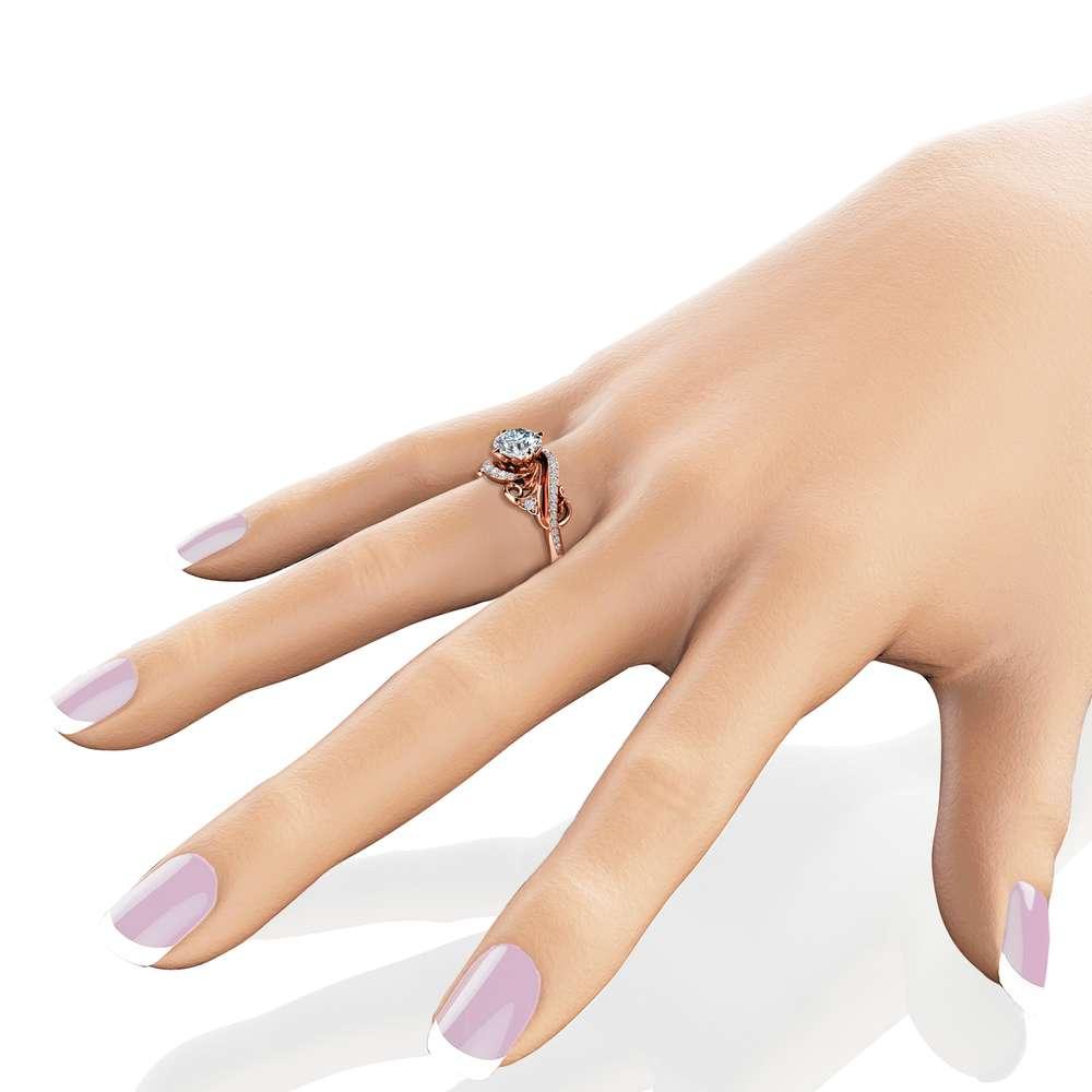 Art Nouveau Moissanite Engagement Ring 14K Rose Gold Ring Round Cut Moissanite Engagement Ring