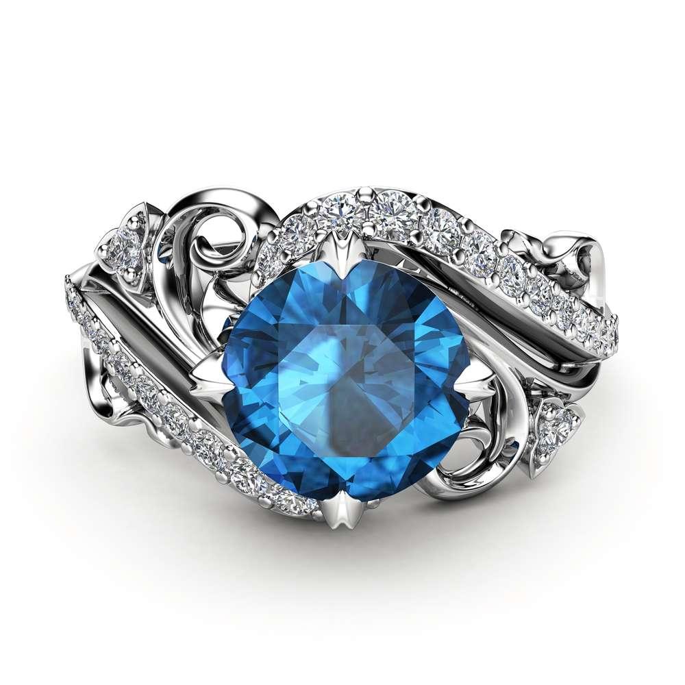 Art Nouveau Topaz Engagement Ring 14K White Gold Ring London Blue Topaz Engagement Ring