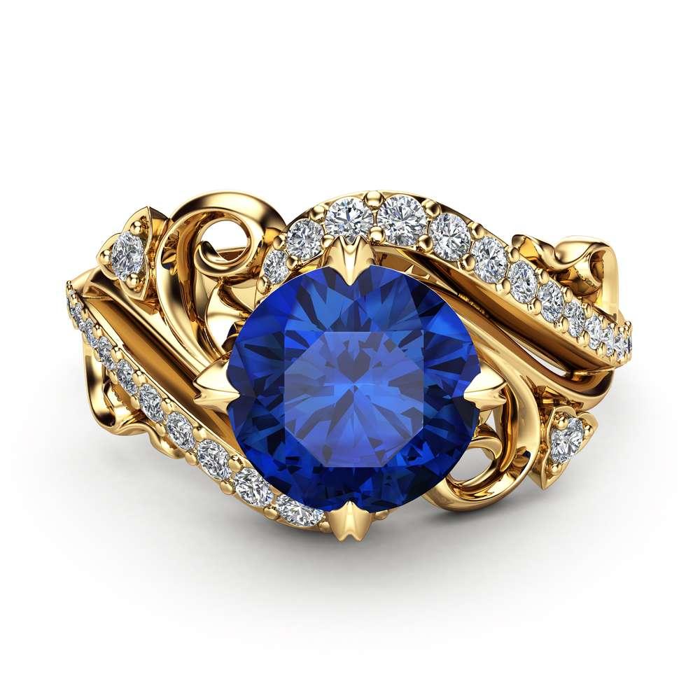 Art Nouveau Sapphire Engagement Ring 14K Yellow Gold Ring Blue Sapphire Engagement Ring