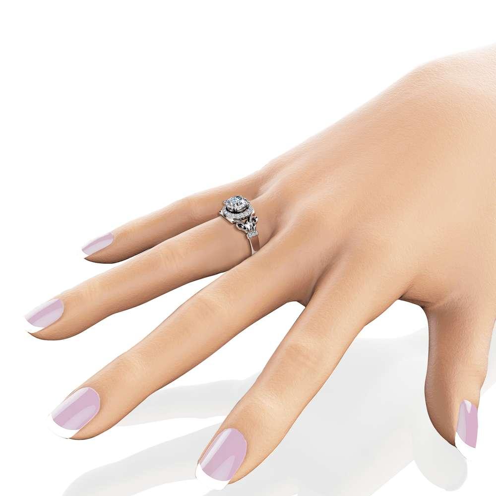Charles Colvard Moissanite Engagement Ring 14K White Gold Moissanite Ring Vintage Halo Engagement Ring