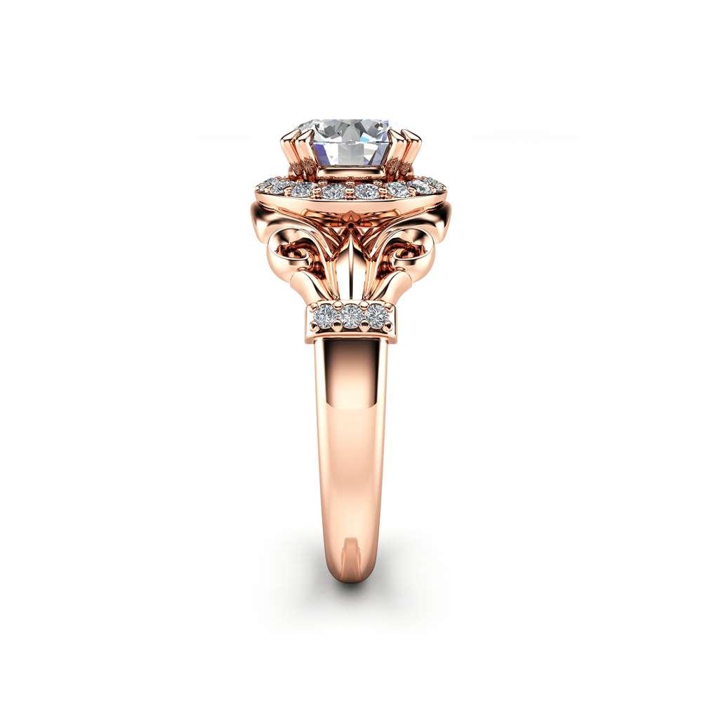Charles Colvard Moissanite Engagement Ring 14K Rose Gold Moissanite Ring Vintage Halo Engagement Ring