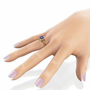 Halo Tanzanite Engagement Ring 14K Yellow Gold  Vintage Ring December Birthstone Ring