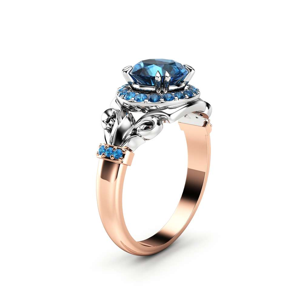 Blue Diamond Engagement Ring Unique Two Tone Gold Ring Halo Engagement Ring