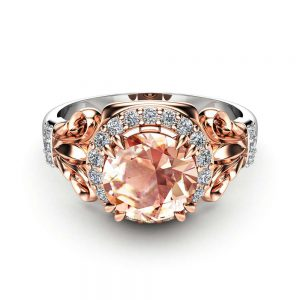 Peach Sapphire Engagement Ring Two Tone Gold Ring Unique Halo Engagement Ring