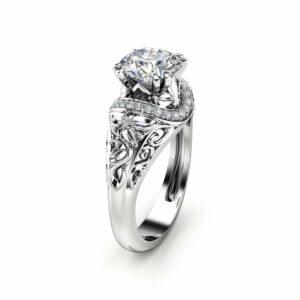 Art Deco Moissanite Engagement Ring 14K White Gold Moissanite Ring Art Deco Round Engagement Ring