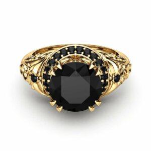 Black Diamond Engagement Ring 14K Yellow Gold Diamond Ring Art Deco Round Engagement Ring