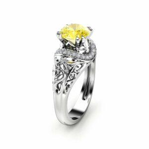 Yellow Moissanite Engagement Ring 14K White Gold Moissanite Ring Art Deco Round Engagement Ring