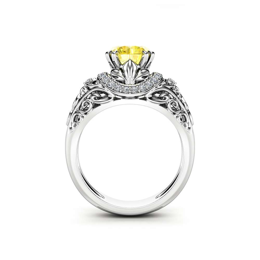 Yellow Moissanite Engagement Ring 14K White Gold Moissanite Ring Art Deco Round Engagement Ring