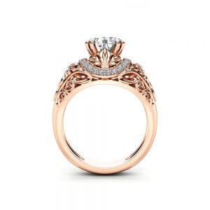 Art Deco Moissanite Engagement Ring 14K Rose Gold Moissanite Ring Art Deco Round Engagement Ring