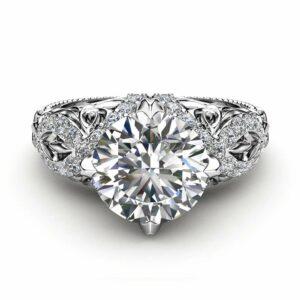 Victorian Moissanite Engagement Ring 14K White Gold Ring Unique Forever One Moissanite Ring