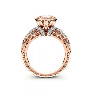 Victorian Morganite Engagement Ring Unique 14K Rose Gold Ring Natural Morganite Engagement Ring