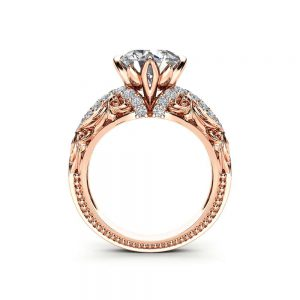 Unique Moissanite Engagement Ring 14K Rose Gold Ring Victorian Diamonds Engagement Ring