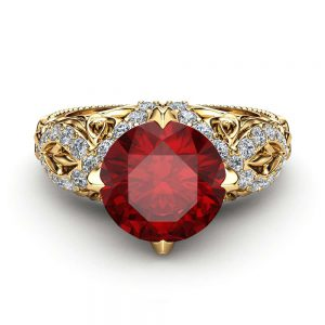Ruby Victorian Engagement Ring 14K Yellow Gold Ring Unique Filigree Design Engagement Ring
