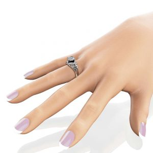 Moissanite Estate Engagement Ring 14K White Gold Moissanite Ring Halo Estate Engagement Ring