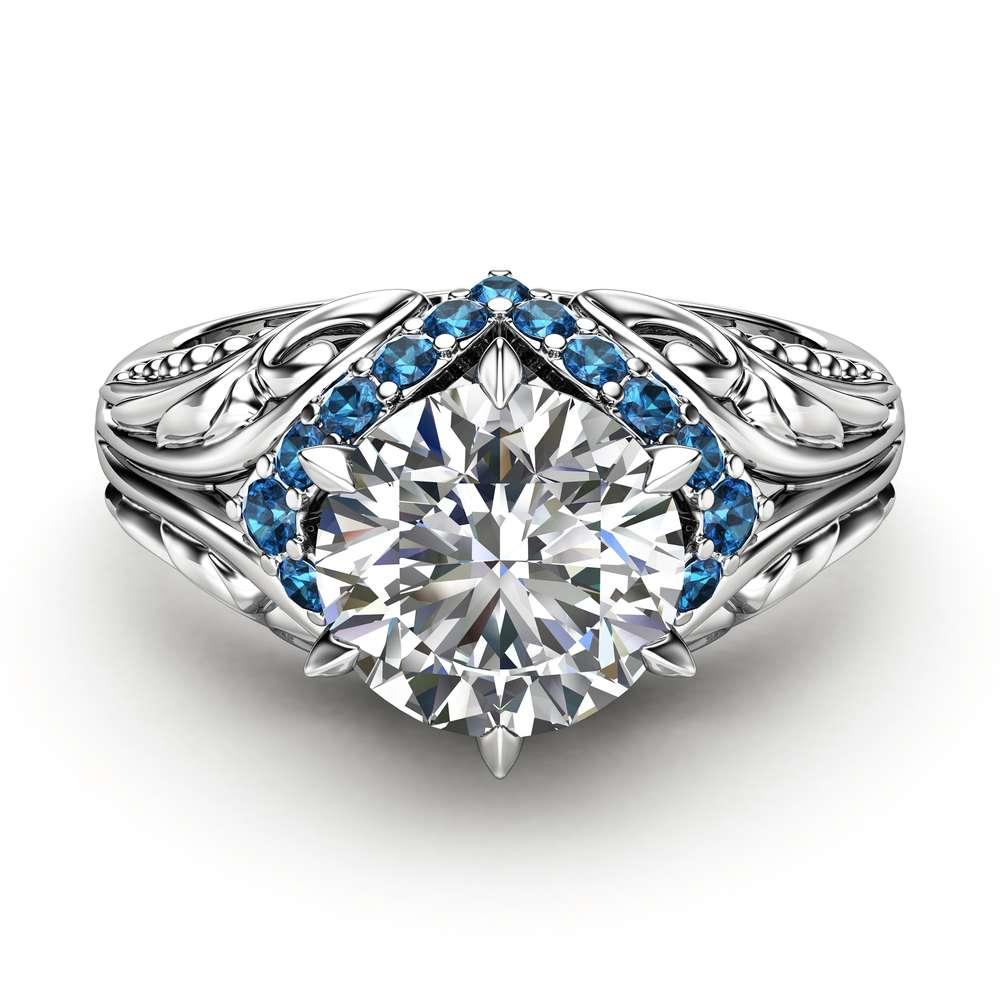 Moissanite Blue Diamonds Estate Engagement Ring 14K White Gold Blue Diamonds Ring Halo Estate Engagement Ring