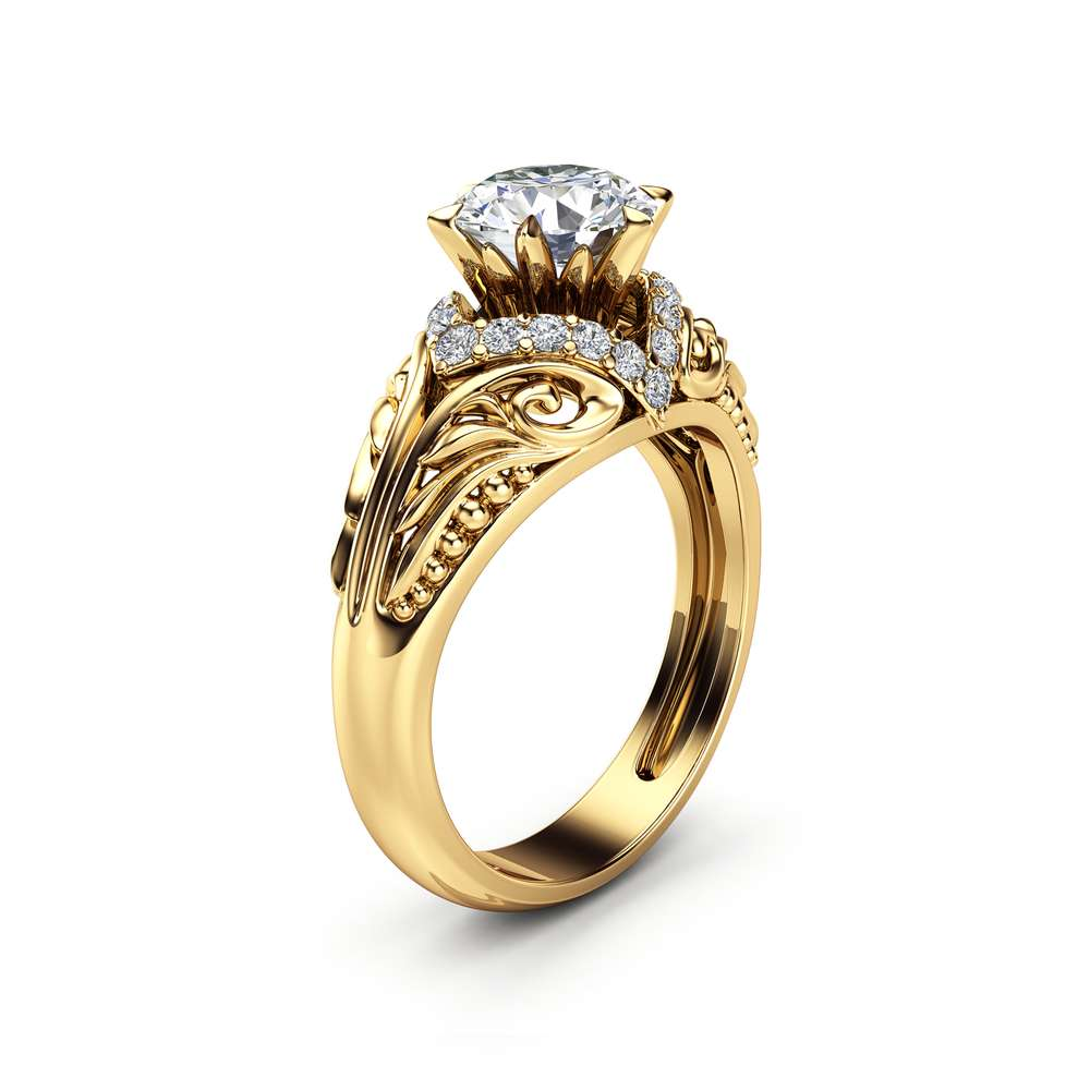 Moissanite  Estate Engagement Ring 14K Yellow Gold  Ring Halo Estate Engagement Ring