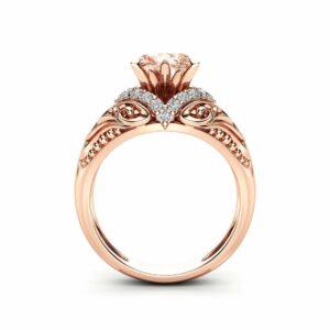 Morganite Estate Engagement Ring 14K Rose Gold Morganite Ring Halo Estate Engagement Ring