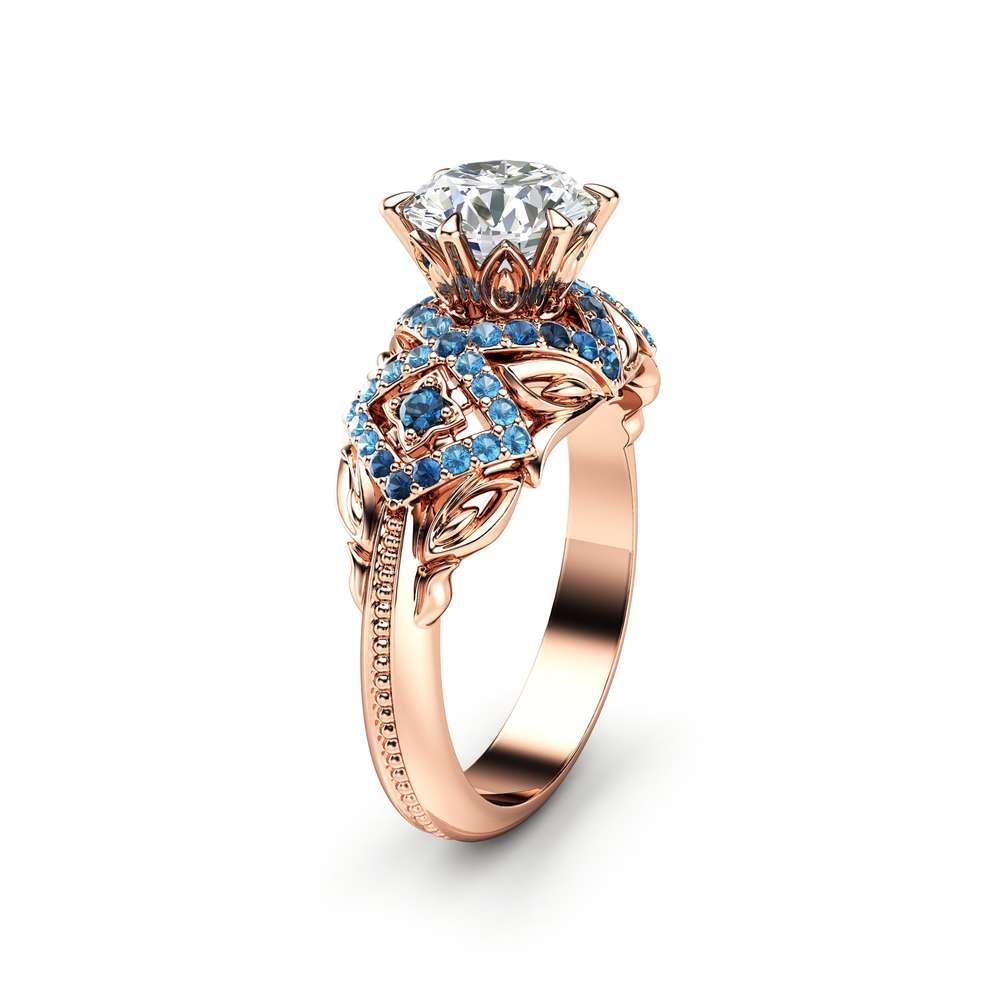 Moissanite Vintage Engagement Ring 14K Rose Gold Moissanite Ring Halo Vintage Engagement Ring