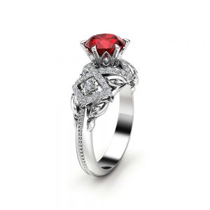 Ruby Vintage Engagement Ring 14K White Gold Ruby Ring Halo Vintage Engagement Ring  July Birthstone