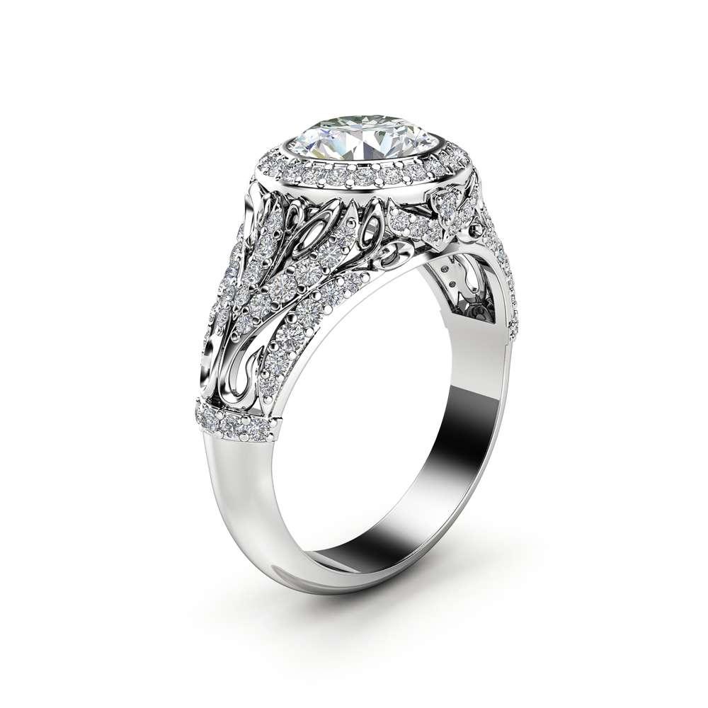 Moissanite Victorian Engagement Ring 14K White Gold Ring Halo Diamonds Engagement Ring