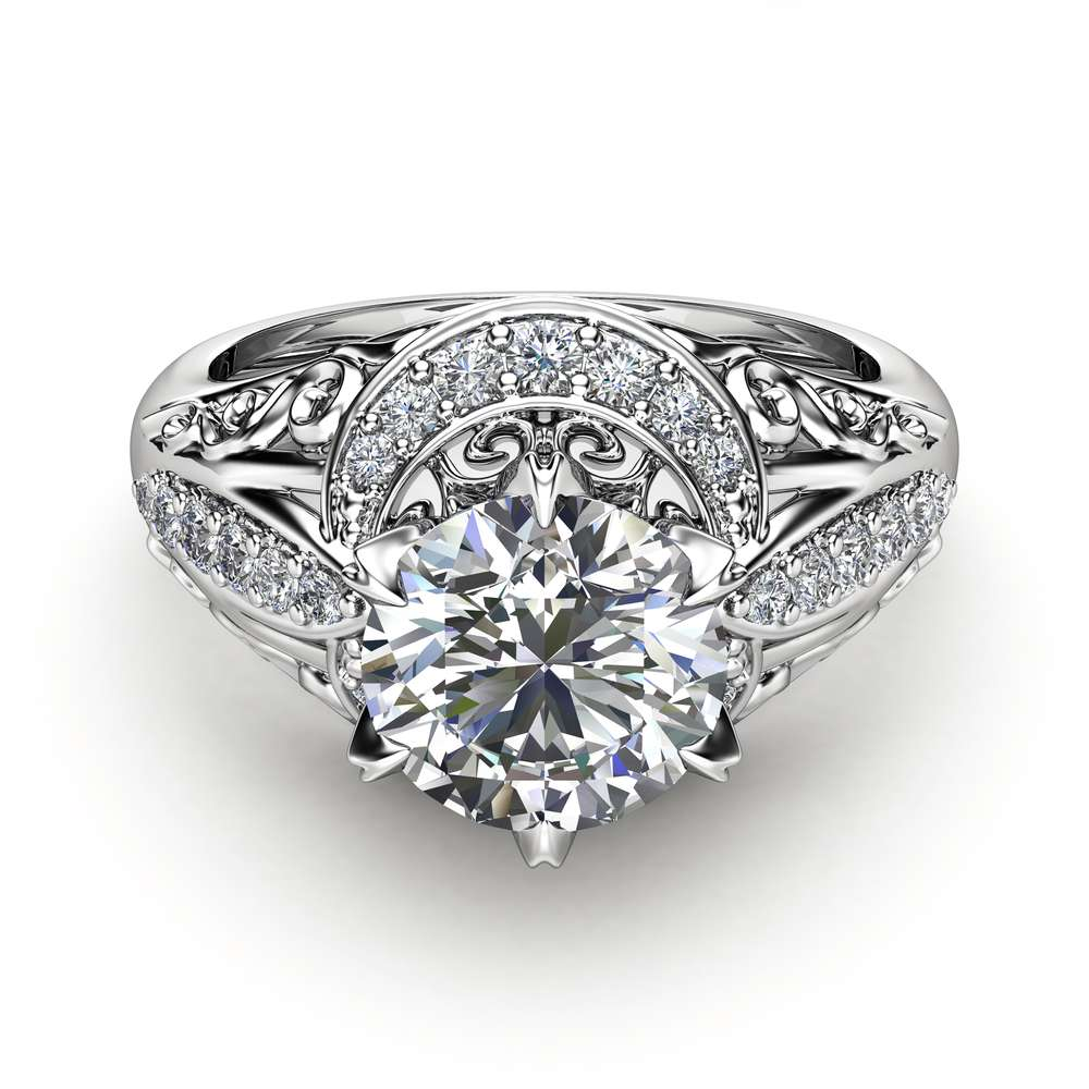Charles Colvard Moissanite Engagement Ring 14K White Gold Ring Diamond Alternative Engagement Ring