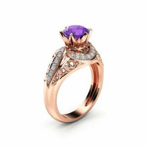 Amethyst Engagement Ring 14K Rose Gold Vintage Ring Amethyst Wedding Ring February Birthstone