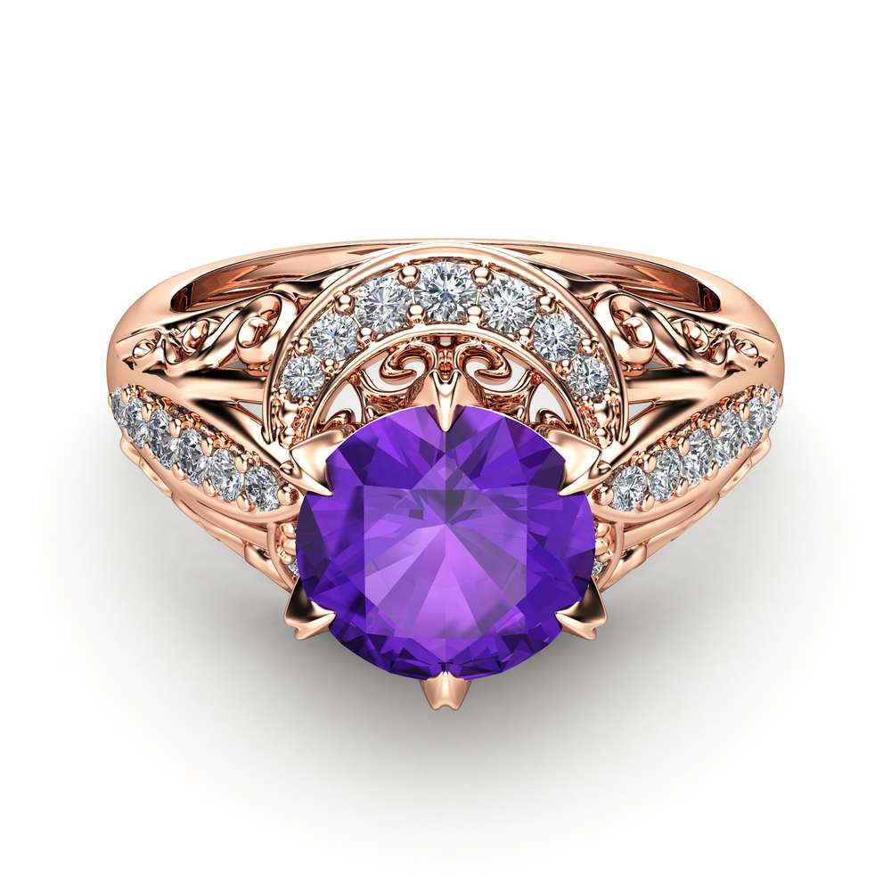 Amethyst Engagement Ring 14K Rose Gold Vintage Ring Amethyst Wedding Ring February Birthstone