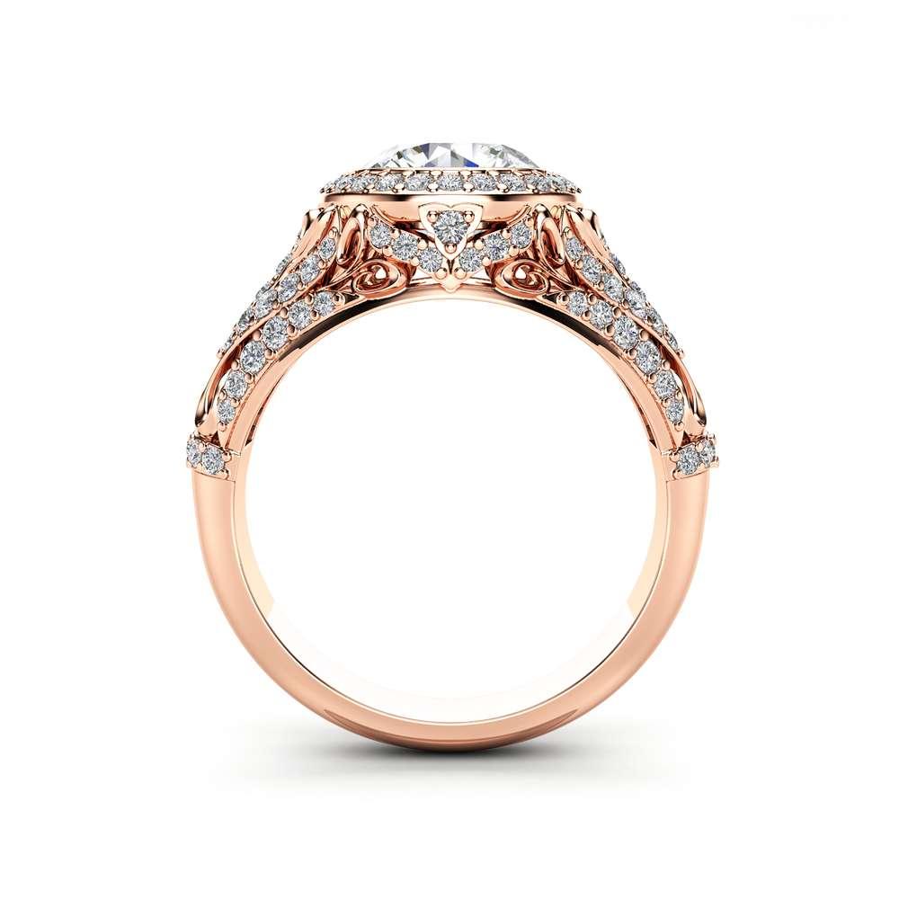 Moissanite Victorian Engagement Ring 14K Rose Gold Ring Halo Diamonds Engagement Ring