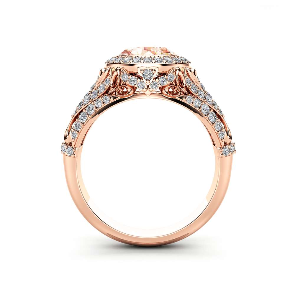 Pink Sapphire Victorian Engagement Ring 14K Rose Gold Ring Halo Diamonds Engagement Ring October Birthstone