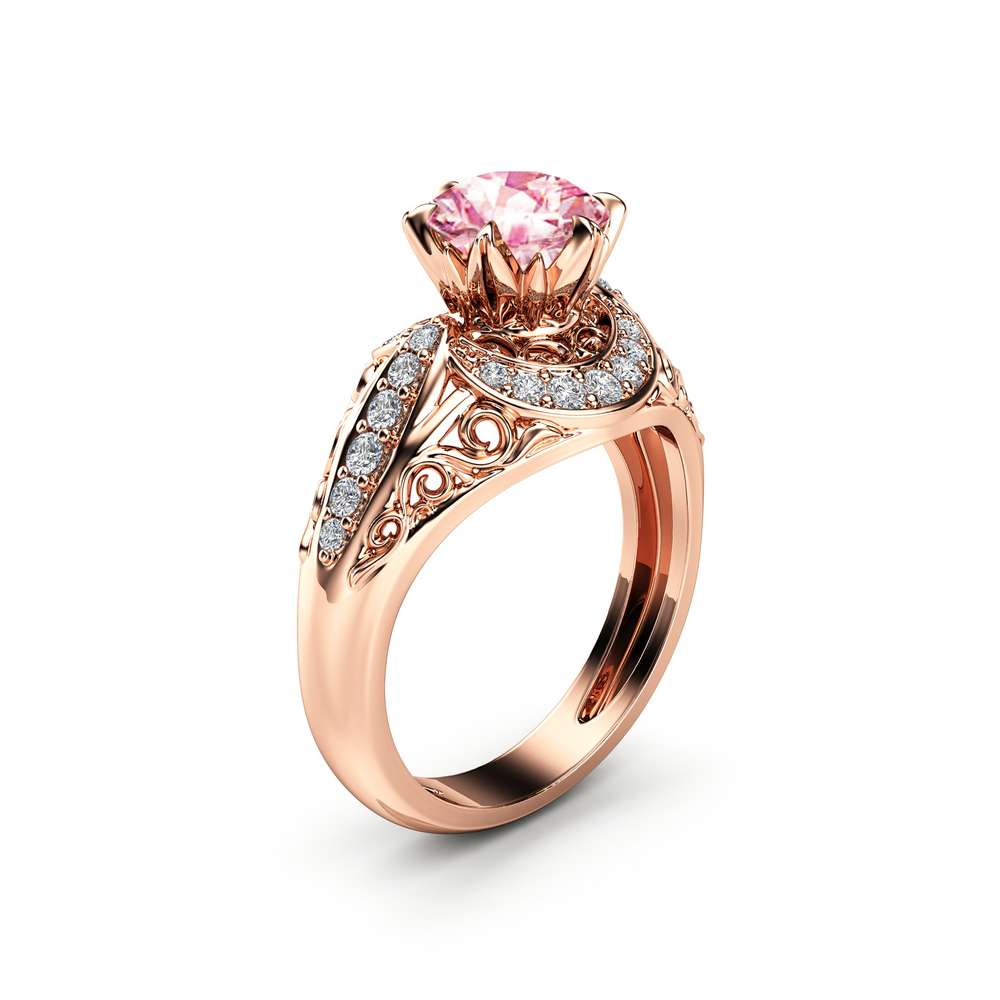 Pink Sapphire Engagement Ring 14K Rose Gold Vintage Ring Pink Sapphire Wedding Ring October Birthstone