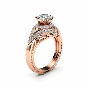 Diamonds Halo Moissanite Engagement Ring 14K Rose Gold Flower Ring Forever Briliant Moissanite Ring