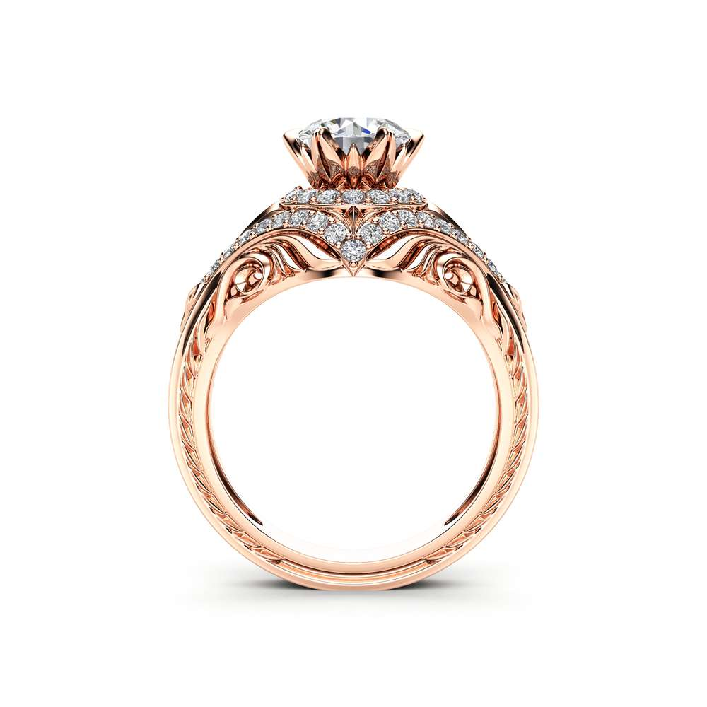 Diamonds Halo Moissanite Engagement Ring 14K Rose Gold Flower Ring Forever Briliant Moissanite Ring