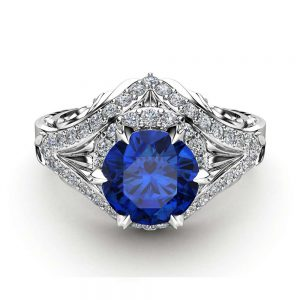 Halo Blue Sapphire Engagement Ring 14K White Gold Ring Natural Diamonds Ring Natural Sapphire Ring