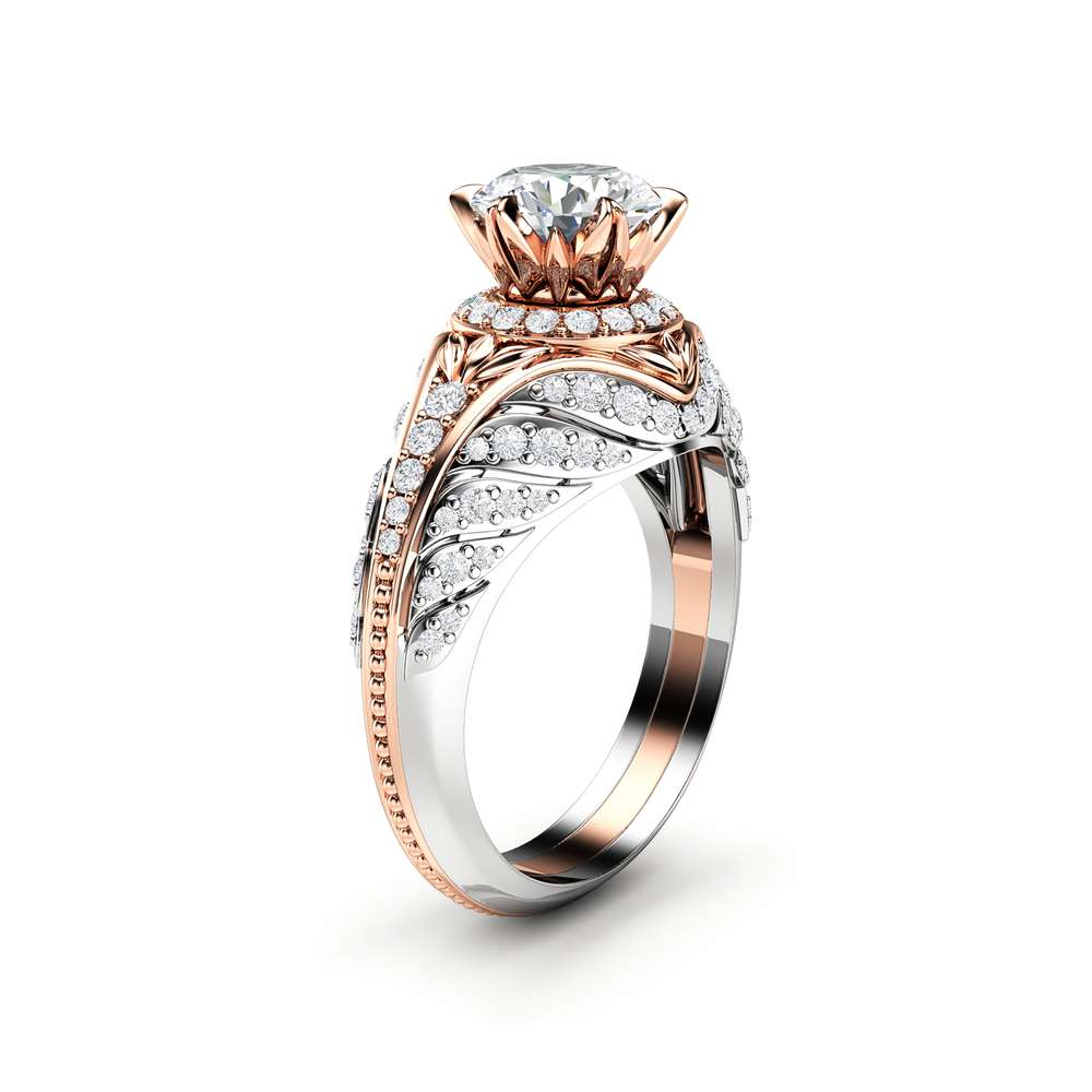 Unique Moissanite Engagement Ring Diamond Halo Engagement Ring 14K Two Tone Gold Ring