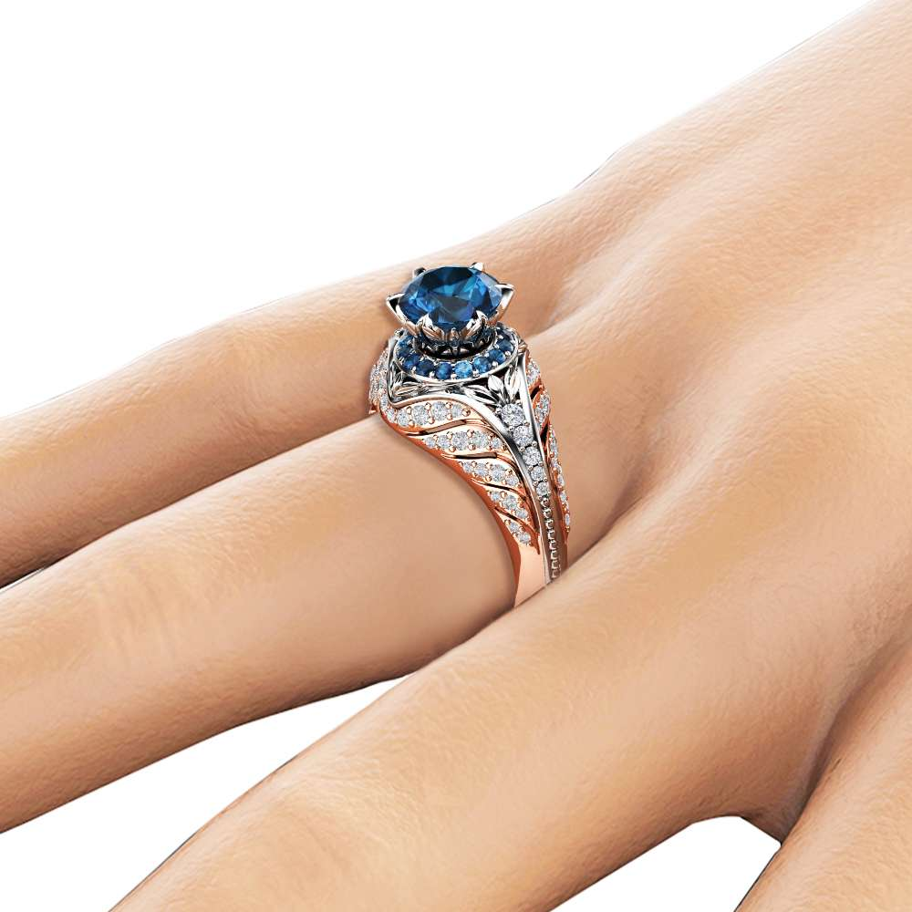 Blue Diamond Engagement Ring Unique Halo Ring 14K Two Tone Gold Engagement Ring