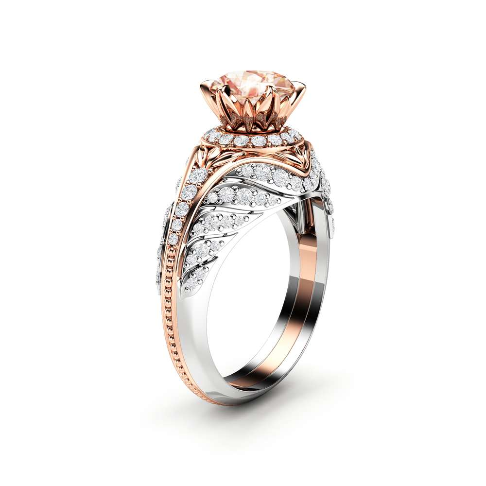 Peach Sapphire Engagement Ring Two Tone Gold Ring Diamond Halo Engagement Ring