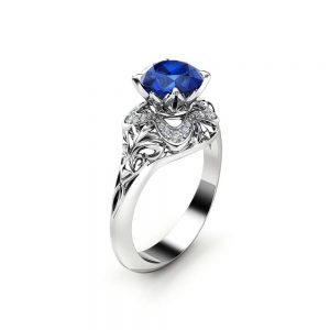 Blue Sapphire Engagement Ring 14K White Gold Art Deco Ring Sapphire and Diamonds Wedding Ring