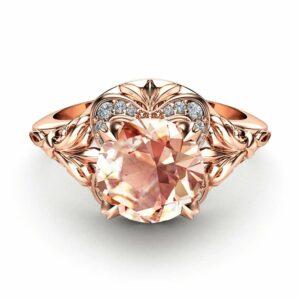 Morganite Engagement Ring 14K Rose Gold Victorian Ring Morganite and Diamonds Wedding Ring