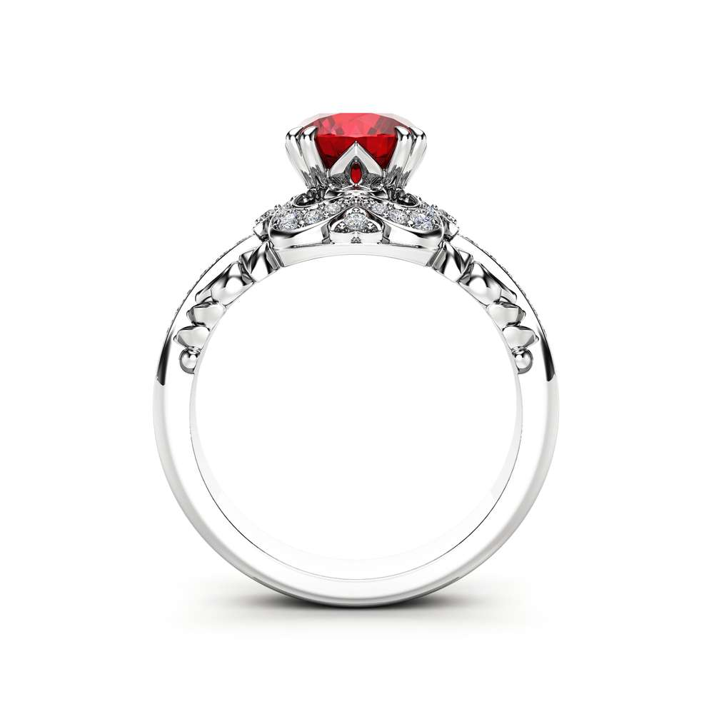 Halo Ruby Engagement Ring 14K White Gold Ring Art Deco Ring Ruby Diamonds Wedding Ring