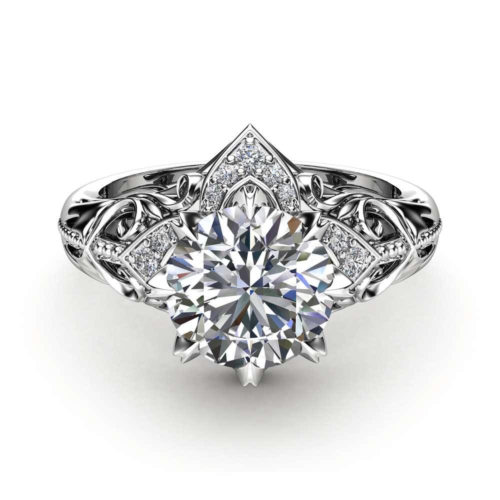 Moissanite Estate Engagement Ring 14K White Gold Ring Estate Wedding Ring Anniversary Gift