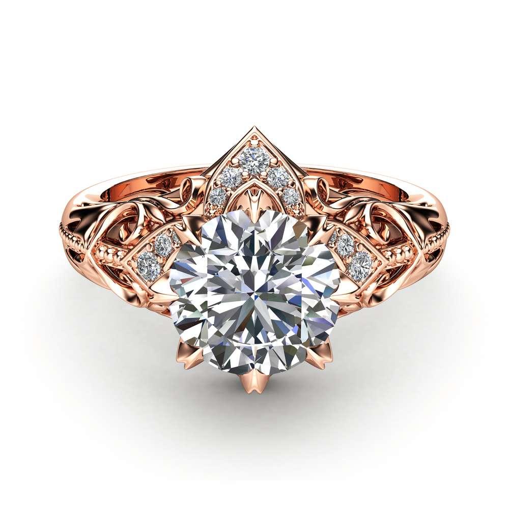 Moissanite Estate Engagement Ring 14K Rose Gold Ring Estate Wedding Ring Anniversary Gift