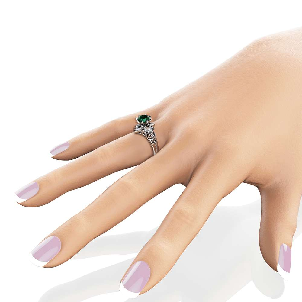 Emerald Estate Engagement Ring 14K White Gold Ring May Birthstone Ring Anniversary Gift