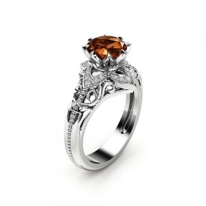 Chocolate Diamond Estate Engagement Ring 14K White Gold Ring  Fancy Brown Natural Diamond Ring